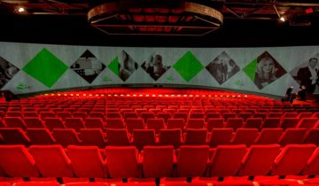 De Theaterzaal van feestlocatie Hangaar2 in Katwijk.