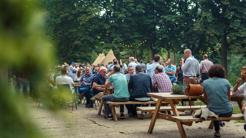 Bedrijfsfeest op terras van Fort de Batterijen feestlocatie Nieuwegein.
